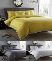 Pom Pom Duvet Quilt Cover & Pillowcase Luxury Cotton Rich Bed Linen Bedding Set