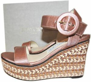 Jimmy Choo Abigail Espadrille Wedge Sandals Metallic Pink Platform Shoes 39