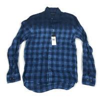 Michael Kors Mens Button Shirt Slim Linen Garment Dye Blue Plaid Variety Sizes