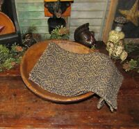 Prim Antique Vtg Style Pebble Brook Navy Tan Cotton Woven COVERLET RUNNER RQ2NSR
