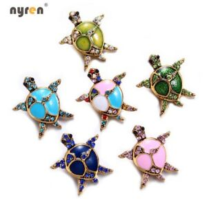 18mm Snap Button Metal Rhinestone Tortoise Snap Charms Ginger Snap Jewelry 0165