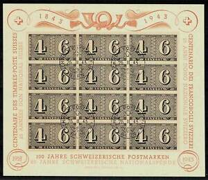Switzerland CENTENARY SHEET 1943 FDC