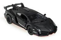 Kinsmart Lamborghini Veneno 1:36 Scale Diecast Toy Car Matte Black w. PULL BACK