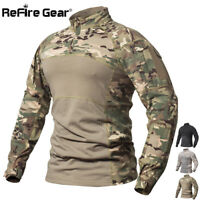 ReFire Gear Men's Military Tactical Combat Shirt Camouflage Long Sleeve T Shirts