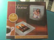 Sarah Peyton Home- 4 Solid Glass Photo Coasters w/ Wood Holder NIP