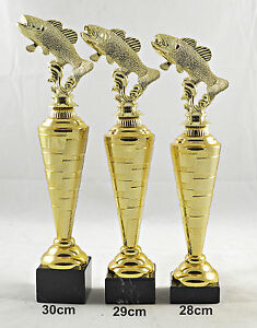 1x 3er Serie Angelsport Pokale Pokal 24,5cm hoch inkl Forelle Gravur Fisch