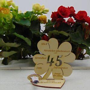 Geldgeschenk Personalisiert zum 45 Geburtstag Holz Kleeblatt mit Herz für Männer