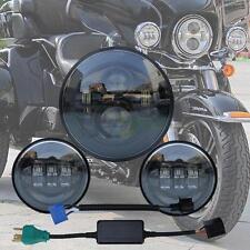 """Black 7"""" LED Headlight + 4.5"""" Auxiliary Fog Spot Passing Light for Harley"""