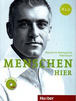 Hueber MENSCHEN HIER A1.2 Deutsch als Zweitsprache ARBEITSBUCH mit AUDIO CD @New