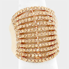Cocktail Ring Multi Row Rhinestone Pave Crystals Wide Stretch Evening ROSE GOLD