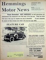 Vtg Hemmings Motor News Magazine August 1971 1930 Model A Feature Car m1189