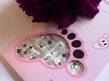 NAIL Art Autoadesivo COMPLETO TOE SMALTO Wrap Adesivo Rosa Bianco Fiore 1006t