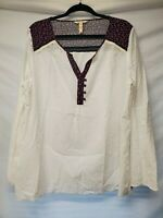 Matilda Jane Womens XXL Large Floral Blouse Long Sleeve White Eyelet Boho Shirt