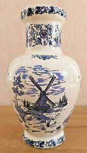 Antique Pretty Vase Molen White Deco Blue Mill A Wind Landscape Flowers