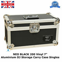 "1 X NEO BLACK Aluminium DJ Storage Carry Case Holds 200 Vinyl 7"" Singles Records"