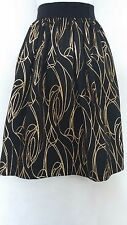 $375 MILLY Monica Black Gold Metallic Detail Soft Pleated Full Skirt NWT Sz 4