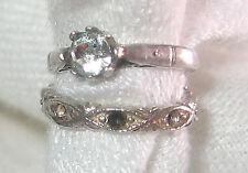 Diamond Wedding Ring Set Charm B Vintage Estate Silver & Crystal 3-D