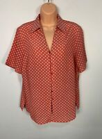 WOMEN MARKS&SPENCER SIZE UK 16 CORAL CASUAL SHORT SLEEVE V NECK BLOUSE SHIRT TOP