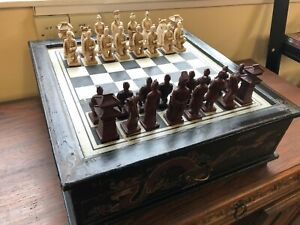 Unique Vintage Style CHINESE CHESS SET Board Wooden Box (Rare)
