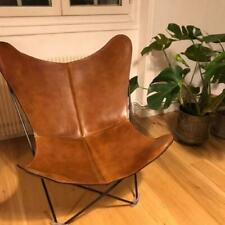Brown Vintage Buff Leather Butterfly Chair Living Room Relax Arm Chair Handmade
