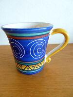 "Pier 1 Large Coffee Mug  Italian Swirl Italy  Royal w/ Aqua Yellow Etc.  4 1/2"""