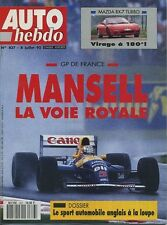 AUTO HEBDO n°837 du 8 Juillet 1992 GP FRANCE 405 Mi16 MAZDA RX7 TURBO