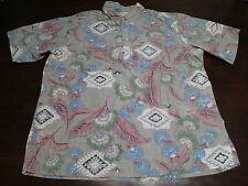 Vtg Mens Reyn Spooner Hawaiian Floral Indian Print Aloha EUC Casual Shirt Sz XL