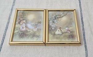 2 x Vintage ANDRES ORPINAS Prints Romantic Cottagecore