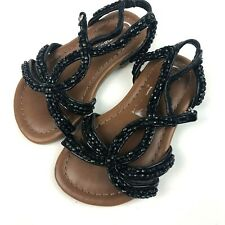 Cherokee Toddler Size 5 Girl's Sandals Black Beaded Sparkly Casual Shoes