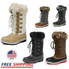 Women's Warm Faux Fur Mid Calf Boots Lace Up Waterproof Outdoor Snow Boots