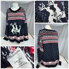 Skedouche Ugly Christmas Sweater 4XL Big Men Blue Reindeer Knit YGI A1-211