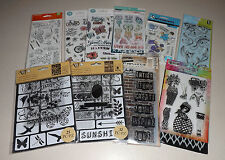 Lot of Clear Stamps & Stencils - Art-C, Tim Holtz, Dylusions, Recollections