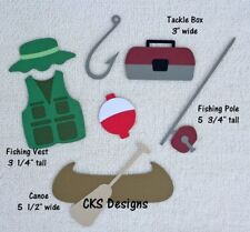 Die Cut Fishing Accessories Vest Hat Pole Handmade Scrapbook Page Paper Piecing