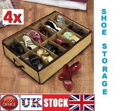 COPPIA di 4x12 Sotto Letto Scarpa Organizer Storage titolare scatola da scarpe Tidy Bag Tasche Rack