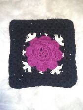 Vintage Black & Purple Pillow Cover Knit crocheted Flower 15x14 in square