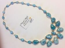 Amazing huge  handcrafted AAA Larimar  Necklace 925 silver  #  F