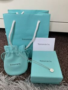 """RARE Return to Tiffany & Co. Silver two sided circle Pendant Charm 18"""" Necklace"""