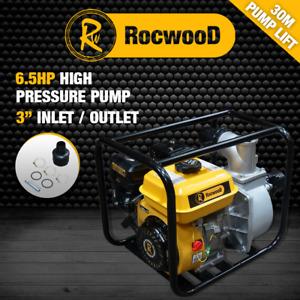 "Petrol Water Pump 3"" 6.5HP 4 Stroke Engine RocwooD 950 Litres Per Min"