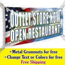 Outlet Store Now Open Restaurant Custom Vinyl Banner Advertising Sign Usa Flag