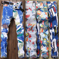 3D Painting Mens Slim Fit Denim Pants Casual Long Straight Trousers Skinny Jeans