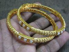2 Designer Filigree Sleek Pearl Minute Leaf Pattern Bangle Bracelet 2.8