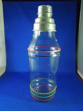 Vintage Mid-Century Atomic Glass Cocktail Shaker Stripes Red Green Yellow Black