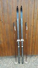 """VINTAGE HICKORY Wooden 74"""" Skis Has Original Brown Finish Signed LAMPINEN"""