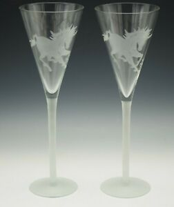 PERRY COYLE  ART GLASS ETCHED UNICORN SET OF 2 CHAMPAGNE FLUTES  GOBLETS 11.75""