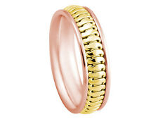 18K Rose Yellow Gold Band 2Tone Designer 6mm Comfort Fit Men Women Wedding