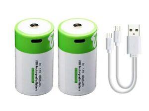 2 x D Batteries Rechargeable via USB Type-C Lithium-Ion Li-Ion 1.5v 8000mAh