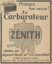 Z9426 Carburateur ZENITH -  Pubblicità d'epoca - 1921 Old advertising