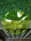 """Orrefors Home Sweden Mingle Bowl Lime Green Large Asymetrical Centerpiece 13.5"""""""