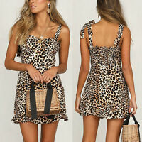 Womens Leopard Sleeveless Strap Bodycon Short Mini Dress Party Evening Cocktail