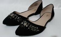 Vera By Vera Wang Open Side Flat Dress Pumps Size 8M Jeweled Toe Black Fabric